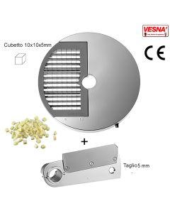 Disco e coltello tagliamozzarella misura cubetto 10X10x5 mm per Chef Pizza Inox Celme