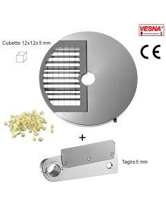 Disco e coltello tagliamozzarella misura cubetto 12X12x5 mm per Chef Pizza Inox Celme