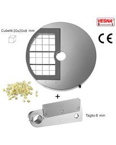 Disco e coltello per cubettare 20X20x8 mm per Chef Pizza Inox Celme