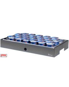 Vassoio porta yogurt refrigerato 22 spazi Ø 5,5 cm con base Carbone