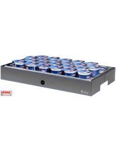 Vassoi porta yogurt refrigerati 22 spazi fori Ø cm 5,5 con base Salvia, Burro, Caffè, Carbone