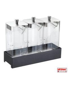 Distributore refrigerato per Succhi o cereali con 3 caraffe e base colore Carbone Caleido