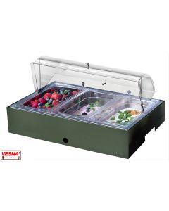 Vassoi inox 18/10 refrigerati porta Yogurt Frutta Verdura sfusi con base Salvia, Burro, Caffè, Carbone
