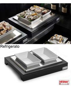 Espositore refrigerato con 2 ciotole in ceramica